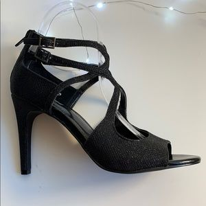 Sparkly Black Strappy Heels
